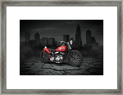 Harley Davidson Wla  Bobber 1945 City Background Framed Print by Aged Pixel