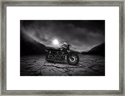 Harley Davidson Xlcr 1977 Mountains Framed Print by Aged Pixel
