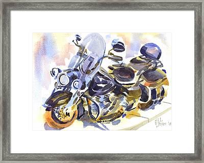 Motorcycle In Watercolor Framed Print by Kip DeVore