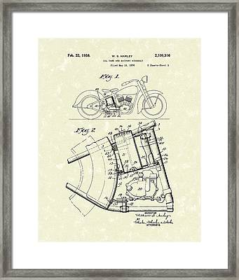 Harley Motorcycle 1938 Patent Art Framed Print by Prior Art Design