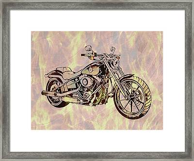 Framed Print featuring the mixed media Harley Motorcycle On Flames by Dan Sproul
