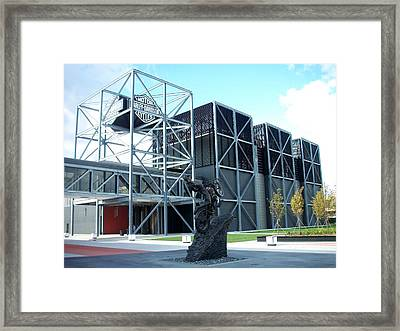 Harley Museum And Statue Framed Print