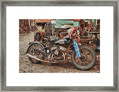 Framed Print featuring the photograph Harley Parking Only by James Bethanis