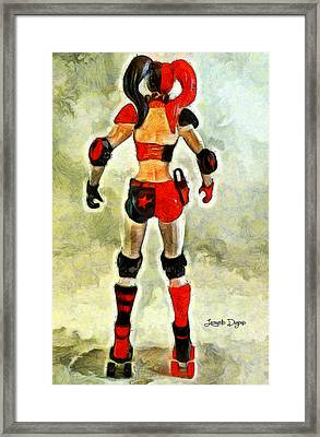 Harley Quinn Back - Pa Framed Print by Leonardo Digenio