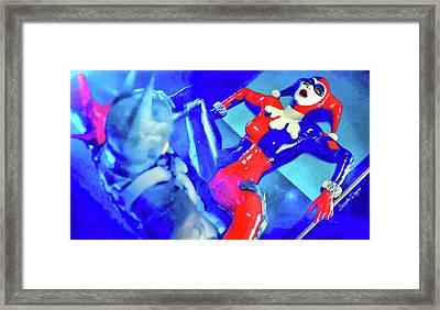 Harley Quinn Fighting Batman - Vivid Aquarell Style Framed Print by Leonardo Digenio