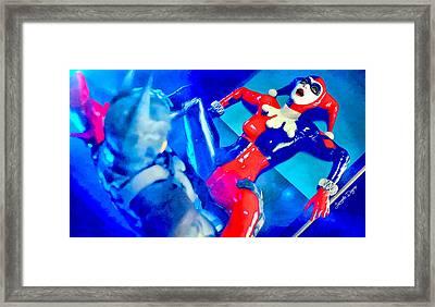 Harley Quinn Fighting Batman  - Vivid Aquarell Style -  - Da Framed Print by Leonardo Digenio