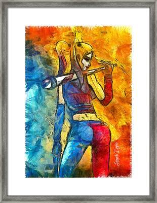 Harley Quinn Spicy - Pencil Style Framed Print by Leonardo Digenio