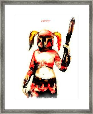 Harley Quinn Trooper  - Aquarell Style -  - Da Framed Print by Leonardo Digenio