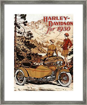 Harley With Sidecar Rare Ad Framed Print
