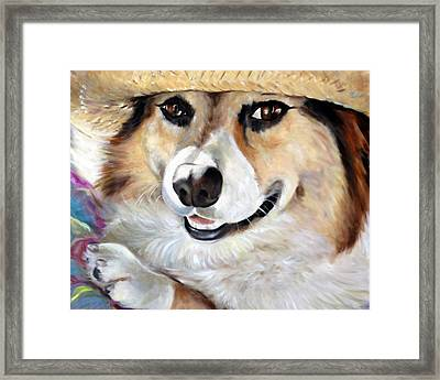 Harley's Hat Framed Print by Mary Sparrow