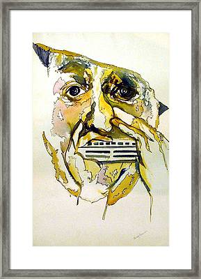 Harmonica Player Framed Print by Mindy Newman