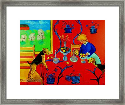 Harmony In Red Kitchen With Airedales After Matisse Framed Print by Lyn Cook