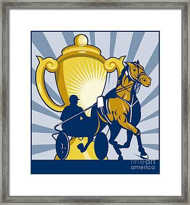 Harness Cart Horse Racing Framed Print by Aloysius Patrimonio
