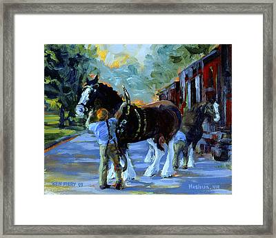 Harnessing The Clydesdales Framed Print