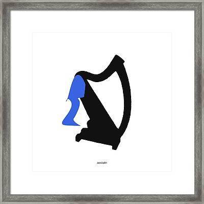Harp In Blue Framed Print by David Bridburg