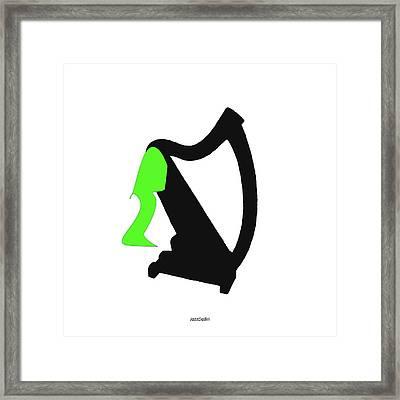 Harp In Green Framed Print by David Bridburg