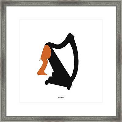 Harp In Orange Framed Print by David Bridburg