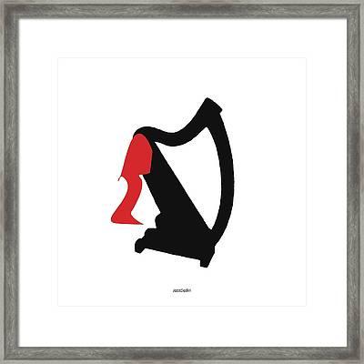 Harp In Red Framed Print by David Bridburg