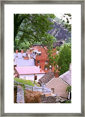 Framed Print featuring the painting Harpers Ferry Overlook by Larry Darnell