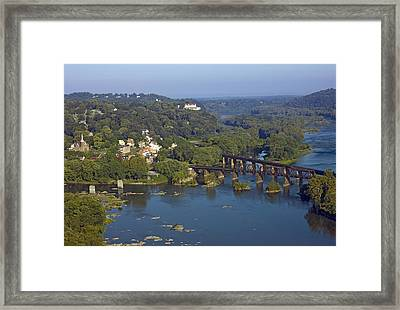 Harpers Ferry West Virginia From Above Framed Print by Brendan Reals