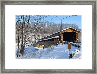 Harpersfield Covered  Bridge Ohio Framed Print