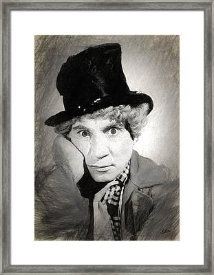 Harpo Marx Draw Framed Print by Quim Abella