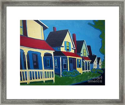 Harpswell Cottages Framed Print by Debra Bretton Robinson
