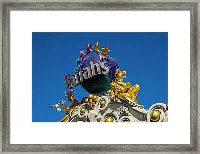 Harrah's Casino Sign On The Las Vegas Strip Framed Print