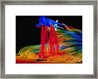Harrier Airplane And Air Displacement Framed Print by Nasa