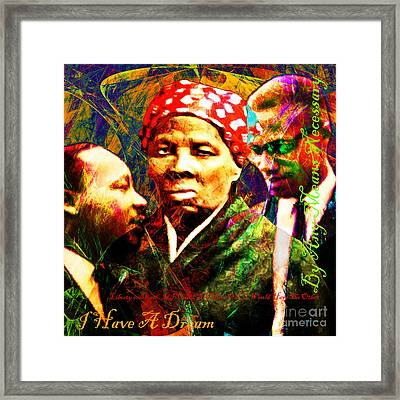 Harriet Tubman Martin Luther King Jr Malcolm X 20160421 Sq Text Framed Print by Wingsdomain Art and Photography