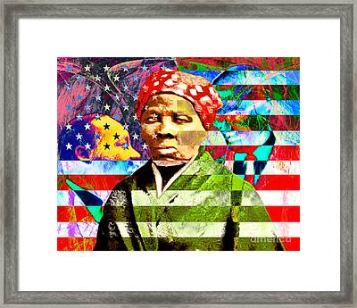 Harriet Tubman Martin Luther King Jr Malcolm X American Flag Framed Print by Wingsdomain Art and Photography