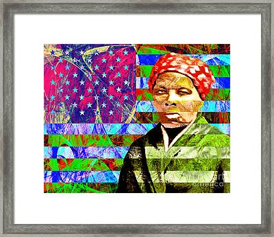 Harriet Tubman Underground Railroad American Flag 20160422 Framed Print by Wingsdomain Art and Photography