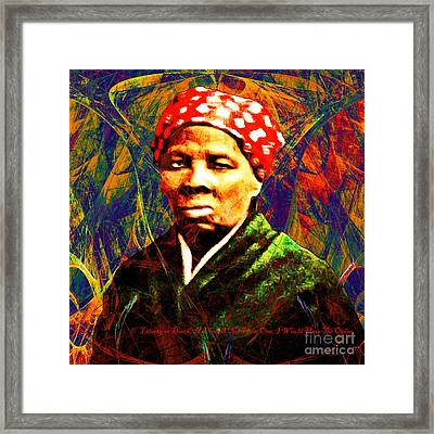Harriet Tubman Underground Railroad In Abstract 20160422 Square With Text Framed Print by Wingsdomain Art and Photography