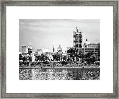 Harrisburg Pa Skyline II Black And White Framed Print by Susan Savad