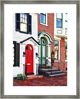 Harrisburg Pa - Two Doors Framed Print by Susan Savad