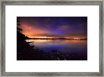 Harrison Bay At Night Framed Print by Steven Llorca