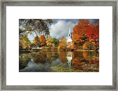 Harrisville New Hampshire - New England Fall Landscape White Steeple Framed Print