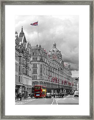 Harrods Of Knightsbridge Bw Hdr Framed Print by David French