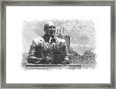 Harry Caray Statue With Historic Wrigley Scoreboard Bw Framed Print by Thomas Woolworth