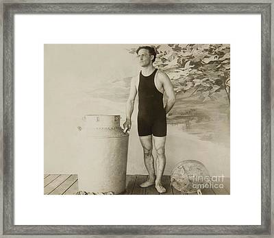 Harry Houdini About To Perform The Great Milk Can Escape Framed Print