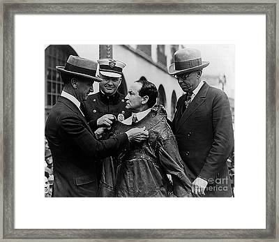 Harry Houdini Being Fitted Into A Straitjacket Framed Print
