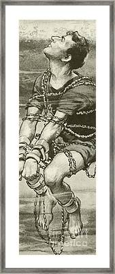 Harry Houdini, Handcuffed And In Chains, Underwater Framed Print