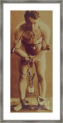 Harry Houdini In Chains Framed Print