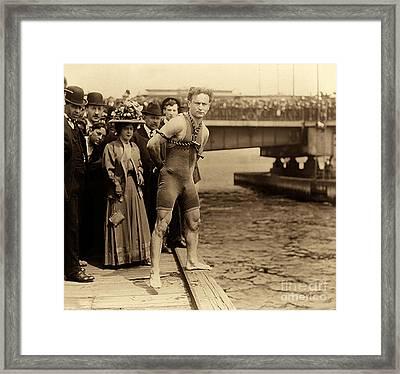 Harry Houdini In Chains, New York Harbor Framed Print