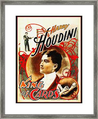 Harry Houdini - King Of Cards Framed Print by Bill Cannon