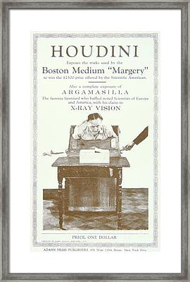 Harry Houdini - Pamphlet Exposing The Tricks Used By The Boston Medium Margery, 1924 Framed Print