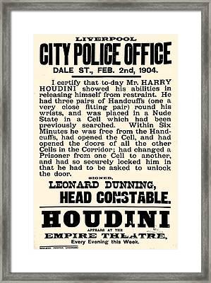 Harry Houdini Police Statement, 1904 Framed Print