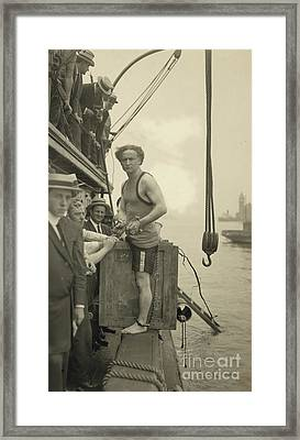 Harry Houdini Stepping Into A Crate That Will Be Lowered Into New York Harbor, 1912 Framed Print