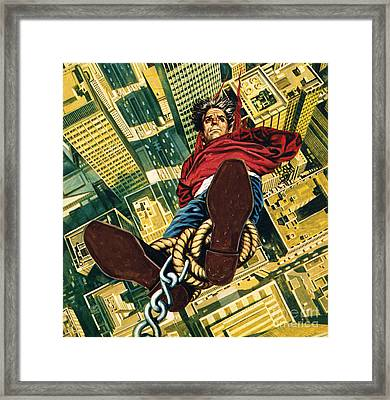 Harry Houdini Suspended From The Top Of A New York Skyscaper Framed Print