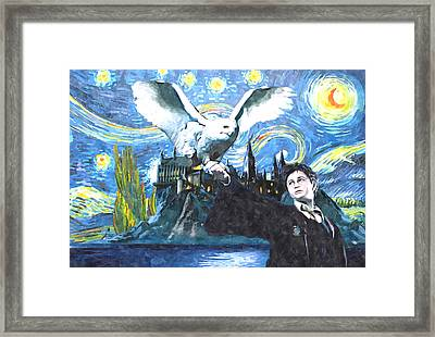Harry Potter Starry Night With Owl Framed Print